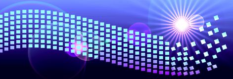 Banner Header Digital Space Pixels. Banner, header, background, or backdrop with blue purple colors and white shining star burst, with wavy pixels abstraction in Royalty Free Stock Images
