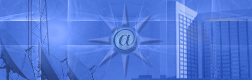 Banner / header E-commerce and communication. This blue banner shows a skyscraper with a grid pattern, a part of a communication tower and in the middel a Stock Image