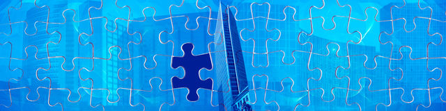 Banner / header Find the missing piece. This banner/header has an interesting abstract background combined with big business buildings. On top is a puzzle with a Stock Images