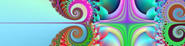 Banner / header  Happy Summertime. This header / banner has an artistic and beautiful spiral design in summer colors. On the left side is room for text Stock Photos