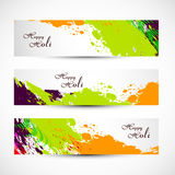 Banner and header set grunge holi Stock Photo