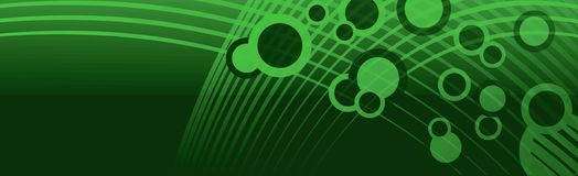 Banner Header Space Bubbles Green. Green header or banner design with lighter green bubble like circular shapes, and netting lines flowing on a darker green Royalty Free Stock Images