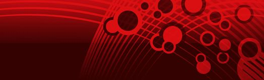 Banner Header Space Bubbles Red. Banner, header, background, or backdrop with wavy netting abstraction, red bubbly circles, in reddish space with shiny Royalty Free Stock Photo