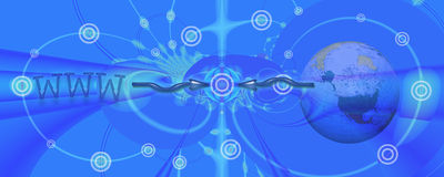 Banner / header: To the point with Internet and e-. This header / banner / design shows an abstract background with circles. They are symbolic for connecting vector illustration