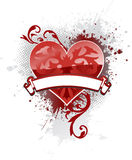 Banner Heart. Single ornate heart with a banner to add your text and light gray ink splat background