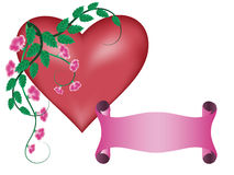 Banner with heart and flower Stock Photo