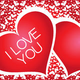 Banner with a heart, I love you Royalty Free Stock Photo