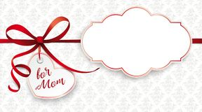 Red Ribbon Ornaments Heart for Mom Classic Label. Banner with heart, ornaments and text For Mom Royalty Free Stock Image