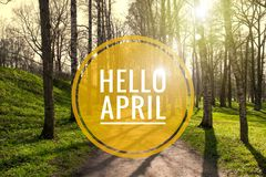Banner hello april. Hi spring. Hello April. Welcome card We are waiting for the new spring month. The second month of spring royalty free stock image