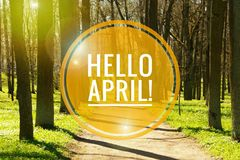 Banner hello april. Hi spring. Hello April. Welcome card We are waiting for the new spring month. The second month of spring stock images