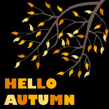 Banner hello autumn. Tree branches with yellow leaves Flat design,  illustration Stock Photo