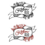 Banner Hello October. Calligraphy. Vector banner with ribbon and calligraphy inscription Hello October stock illustration