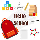 Banner Hello school, a schoolboy set Stock Photography
