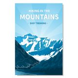 Banner hiking in the mountains-02. Mountain landscape-vertical banner, poster with text. Kind of rocky terrain. Gorge of the river, brightly lit by the sun Royalty Free Stock Photo