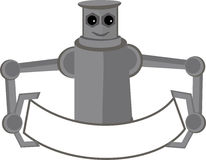 banner holding mascot robot Στοκ Φωτογραφία
