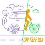 Banner World Car free Day. Banner of the holiday - car free day. Icon in the linear style stock illustration