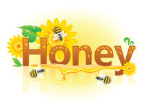 Banner honey with bees and flowers. Beautiful banner Honey with yellow flowers, bees and honey drops Stock Photo