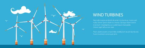 Banner with Offshore Wind Farm. Banner with Horizontal Axis Wind Turbines in the Sea , Offshore Wind Farm off the Coast, Vector Illustration Royalty Free Stock Photos