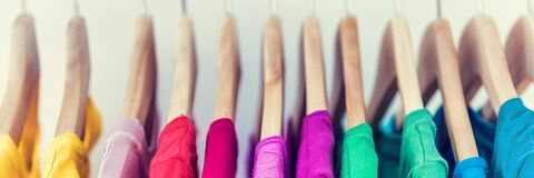 Free Banner Horizontal Crop For Text Background Of Clothing Rack. Clothes For Women Hanging On Hangers In Home Closet Or Shopping Mall Royalty Free Stock Photos - 190055508