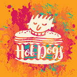 Banner for hot dogs on the abstract background Royalty Free Stock Images