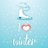 Banner I love winter for Christmas or New Year season. Stock Photography
