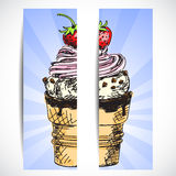 Banner with icecream Stock Images