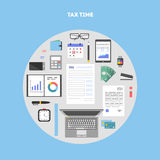 Banner with icons paying taxes in circle. Banner and icon set, flat design in circle. Payment of tax. State taxes, analysis of financial data, statistics Royalty Free Stock Image