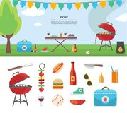 Banner and Icons of Picnic Items. Holiday Concept Stock Image