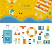 Banner and Icons of Sea Holiday Travel Concept Royalty Free Stock Images