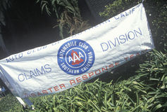 Banner identifying the location of the AAA Disaster Response Team processing insurance claims after the Los Angeles earthquake, 19. 94 Stock Photography