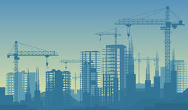 Banner illustration of buildings under construction in process Stock Photos
