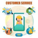 Banner Illustration Customer Service Online Store. Vector Image Girl Telephone Consultation, Woman Makes Purchase Using Laptop, Man Delivers Customer, Order royalty free illustration