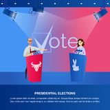 Banner Illustration Debate Presidential Elections. Vector Image Scene with Red and Blue Tribune with Animal Silhouette. Man and Woman Political Rival stock illustration