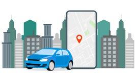 Banner Illustration Navigation Car Rental. The screen displays GPS data car parking. Use Car Hire for Mobile Services vector illustration