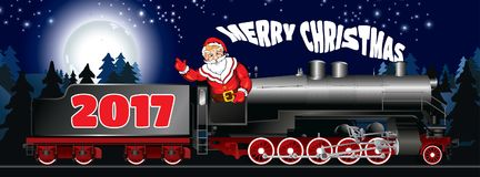 Banner of a illustration of Santa Claus on a steam locomotive Royalty Free Stock Images
