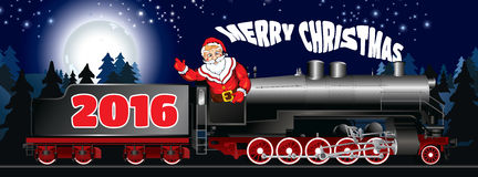Banner of a illustration of Santa Claus on a steam locomotive Stock Photos
