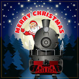 Banner of a illustration of Santa Claus on a steam locomotive with congratulation Merry Christmas Stock Images