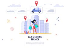 Banner Illustration Young Girl Online Choose Car. Vector Image Woman with Packages her Hand Uses Mobile App Car Sharing Service. Choose Car for Trip Home from vector illustration