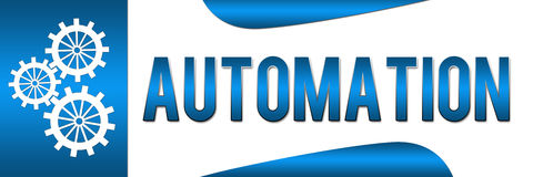 Automation Blue Banner. Banner Image with Automation text and gears stock illustration