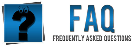FAQ with Question Mark. Banner image in blue with faq text and cartoonish question mark royalty free illustration