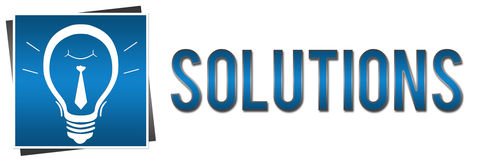 Solutions Banner Bulb Blue. Banner image in blue with solutions text and bulb stock illustration