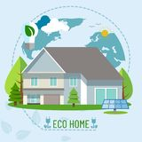 Banner of an ecological house with solar panels. Vector illustration. stock illustration