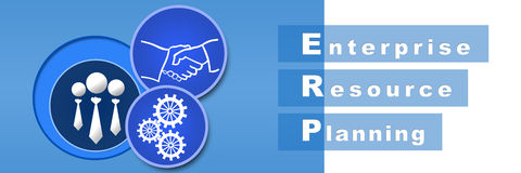 ERP Blue Banner. Banner image of ERP with gears, handshake, and human icons vector illustration
