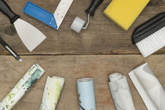 Banner Image of Home Improvement Equipment and Rolls of Wallpape Royalty Free Stock Photos