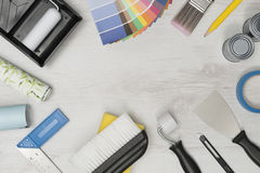Banner Image of Home Improvement Painting Tools with Copy Space Stock Photo