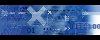Banner Image / Internet Icons, Arrows + HTML code. Banner Image with Internet Symbols, Arrows and HTML code in Blue tones stock illustration