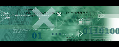 Banner Image / Internet Icons, Arrows + HTML code. In Green Tones