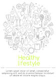 Banner includes icons of healthy food and sport. Vector banner of icons for your web design. Banner includes icons of healthy food and sport. Healthy lifestyle Royalty Free Stock Photos