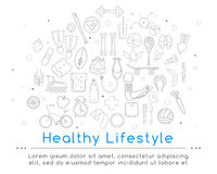 Banner includes icons of healthy food and sport. Vector banner of icons for your web design. Banner includes icons of healthy food and sport. Healthy lifestyle Stock Photography