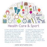 Banner includes icons of healthy food and sport. Vector banner of icons for your web design. Banner includes icons of healthy food and sport. Healthy lifestyle Royalty Free Stock Photo